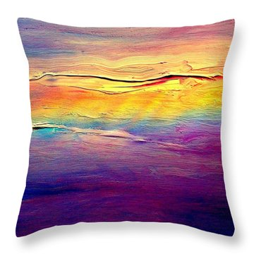 Rainbow Clouds Full Spectrum Throw Pillow by VIVA Anderson