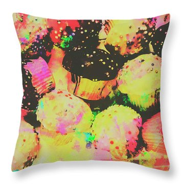 Rainbow Color Cupcakes Throw Pillow