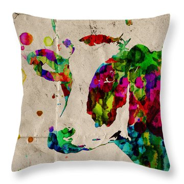 Rainbow Cow Print Poster Throw Pillow