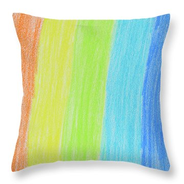 Rainbow Crayon Drawing Throw Pillow by GoodMood Art