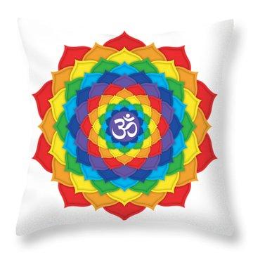 Rainbow - Crown Chakra  Throw Pillow by David Weingaertner