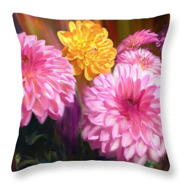 Rainbow Dahlias Throw Pillow