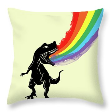 Rainbow Dinosaur Throw Pillow by Mark Ashkenazi