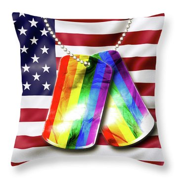 Rainbow Dog Tags Throw Pillow