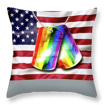 Rainbow Dog Tags Throw Pillow