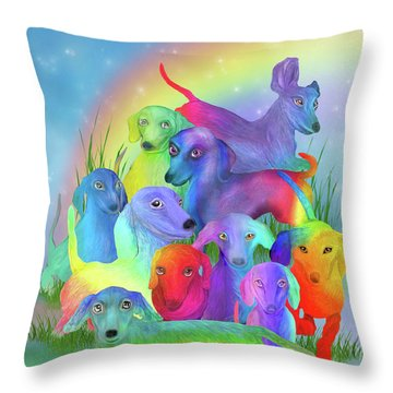 Throw Pillow featuring the mixed media Rainbow Doxies 1 by Carol Cavalaris