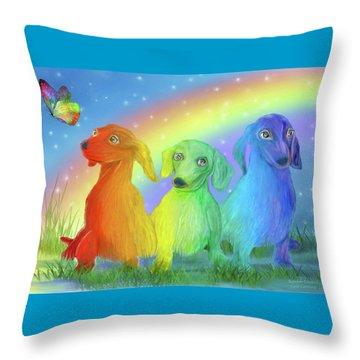 Throw Pillow featuring the mixed media Rainbow Doxies 2 by Carol Cavalaris
