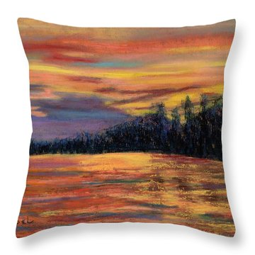 Rainbow Evening Throw Pillow