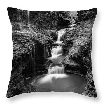 Rainbow Falls Gorge - Watkins Glen Throw Pillow
