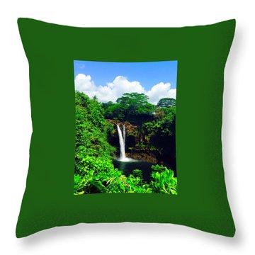 Rainbow Falls Hilo Hawaii Throw Pillow