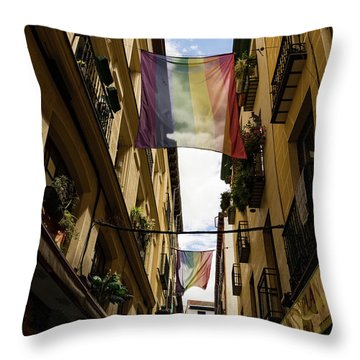 Rainbow Flags Decorating Madrid For Worldpride 2017 Celebrations Throw Pillow