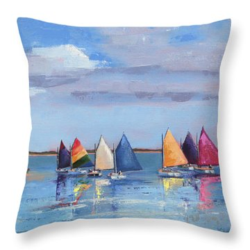 Rainbow Fleet Parade At Brant Point Throw Pillow