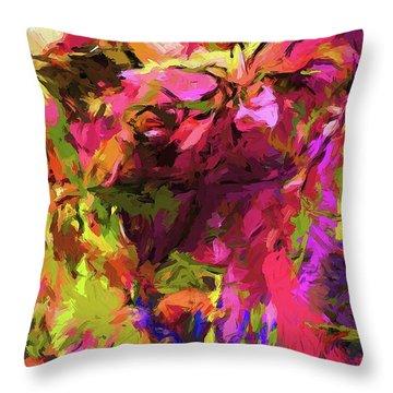 Rainbow Flower Rhapsody Pink Cobalt Blue Throw Pillow