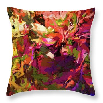 Rainbow Flower Rhapsody Purple Green Throw Pillow