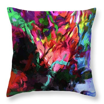 Rainbow Flower Rhapsody Red Turquoise Blue Throw Pillow