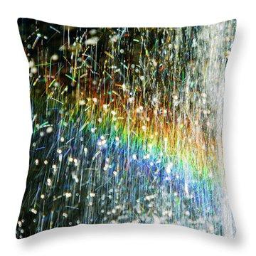 Rainbow Fountain Throw Pillow by Francesa Miller
