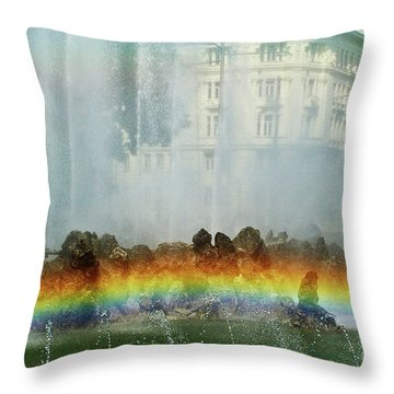 Throw Pillow featuring the photograph Rainbow Fountain In Vienna by Mariola Bitner