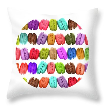 Rainbow French Macarons Throw Pillow