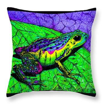 Rainbow Frog 2 Throw Pillow by Nick Gustafson
