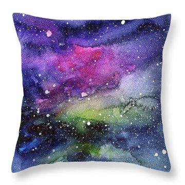 Rainbow Galaxy Watercolor Throw Pillow