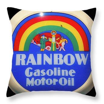 Rainbow Gasoline Throw Pillow