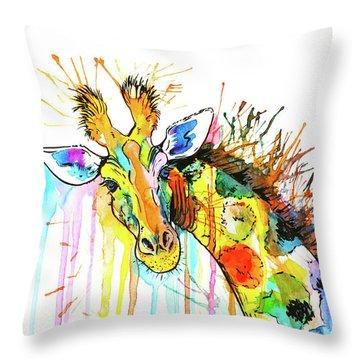 Throw Pillow featuring the painting Rainbow Giraffe by Zaira Dzhaubaeva