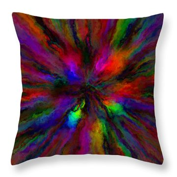 Rainbow Grunge Abstract Throw Pillow