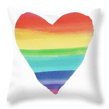 Rainbow Heart- Art By Linda Woods Throw Pillow