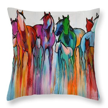 Rainbow Horses Throw Pillow by Cher Devereaux