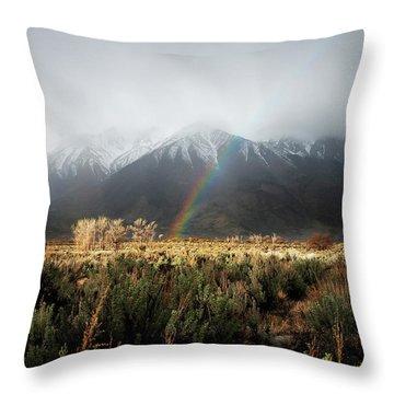 Rainbow In Eastern Sierra Nevadas Throw Pillow