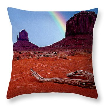 Rainbow In Monument Valley Arizona Throw Pillow