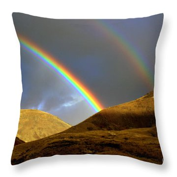 Rainbow In Mountains Throw Pillow