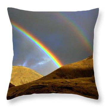 Rainbow In Mountains Throw Pillow by Irina Hays