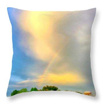 Rainbow In The Suburbs Throw Pillow