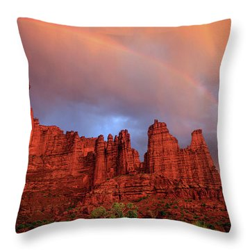 Rainbow In Virga Over Fisher Towers Throw Pillow