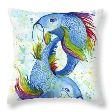 Throw Pillow featuring the painting Rainbow Koi by Darice Machel McGuire