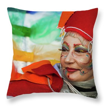 Rainbow Lady Throw Pillow