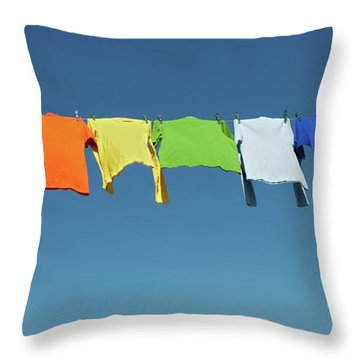 Rainbow Laundry, Bright Shirts On A Clothesline Throw Pillow