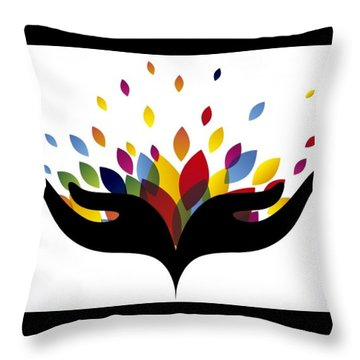 Rainbow Leaves Throw Pillow by Now