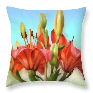 Throw Pillow featuring the photograph Rainbow Lilies by Lois Bryan