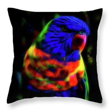 Rainbow Lorikeet - Fractal Throw Pillow