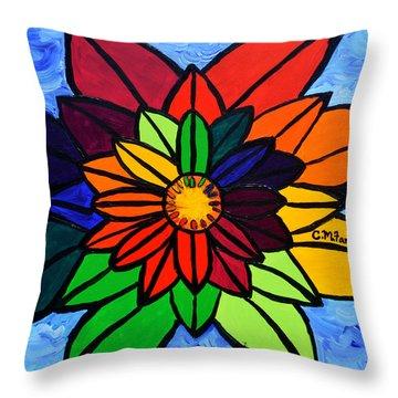 Rainbow Lotus Flower Throw Pillow