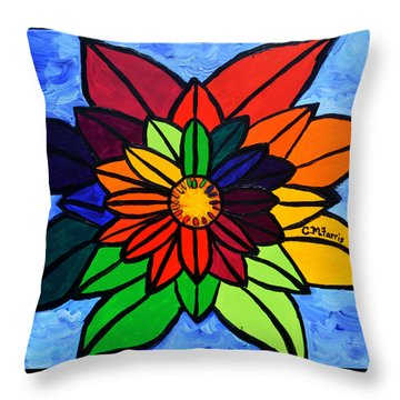 Throw Pillow featuring the painting Rainbow Lotus Flower by Christopher Farris