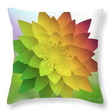 Rainbow Lotus Throw Pillow by Mo T