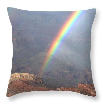 Rainbow Meets Mather Point Throw Pillow