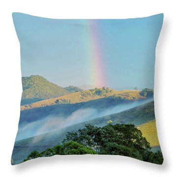 Rainbow Mountain Throw Pillow by Az Jackson