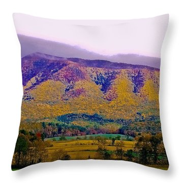 Rainbow Mountain Throw Pillow by DigiArt Diaries by Vicky B Fuller