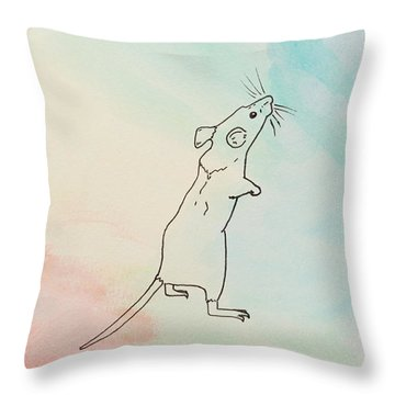Rainbow Mouse Throw Pillow