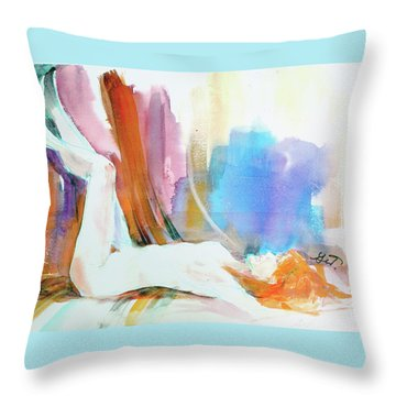 Throw Pillow featuring the painting Rainbow Nude by Gertrude Palmer