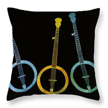 Rainbow Of Banjos Throw Pillow